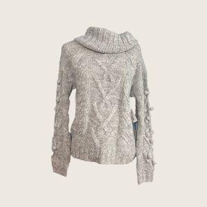NWT Chunky Knit Oversized Pompom Cowlneck Sweater